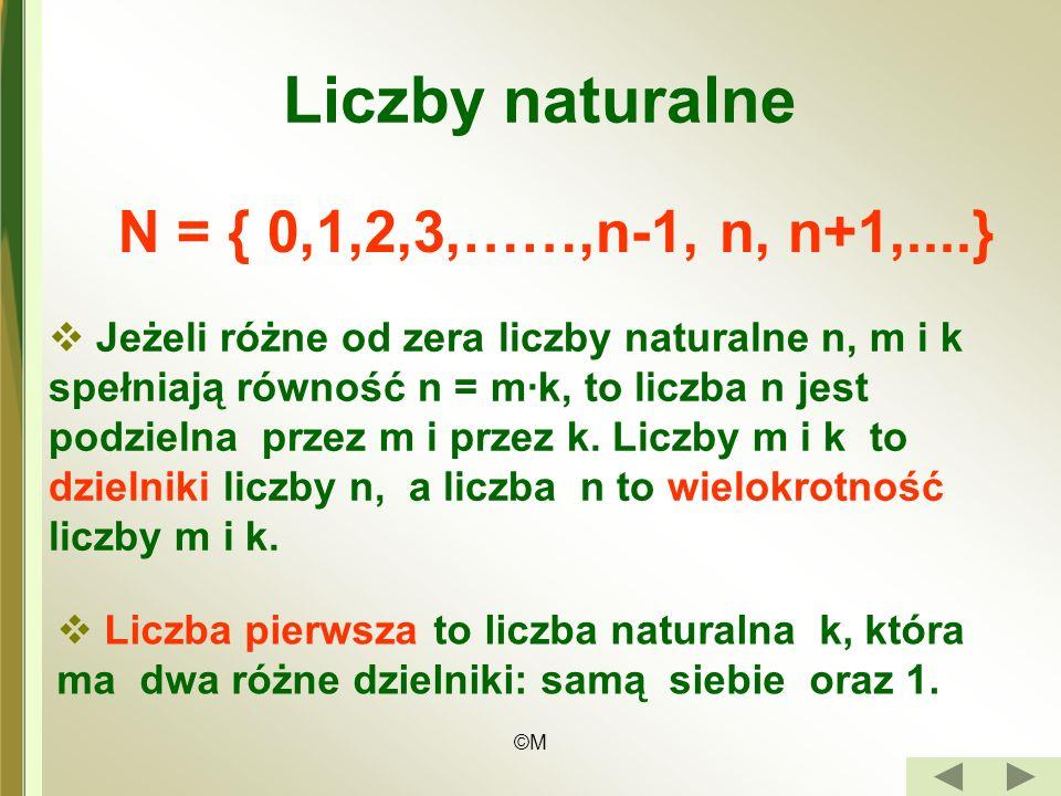 ©M Liczby naturalne N = { 0,1,2,3,……,n-1, n, n+1,....} Jeżeli różne od zera liczby naturalne n, m i k spełniają równość n = m·k, to liczba n jest podzielna przez m i przez k.