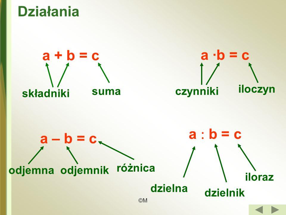 ©M Działania a + b = c składniki suma a ·b = c czynniki iloczyn a – b = c a b = c odjemnaodjemnik różnica dzielna dzielnik iloraz