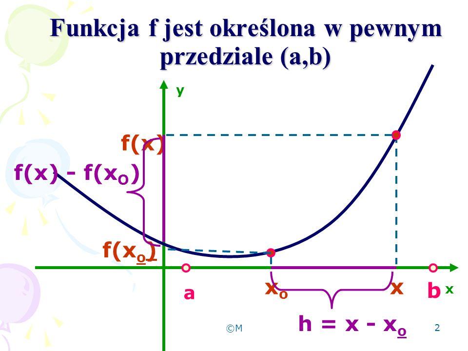 2 Funkcja f jest określona w pewnym przedziale (a,b) x y f(x) a b xoxo x f(x o ) h = x - x o f(x) - f(x O )