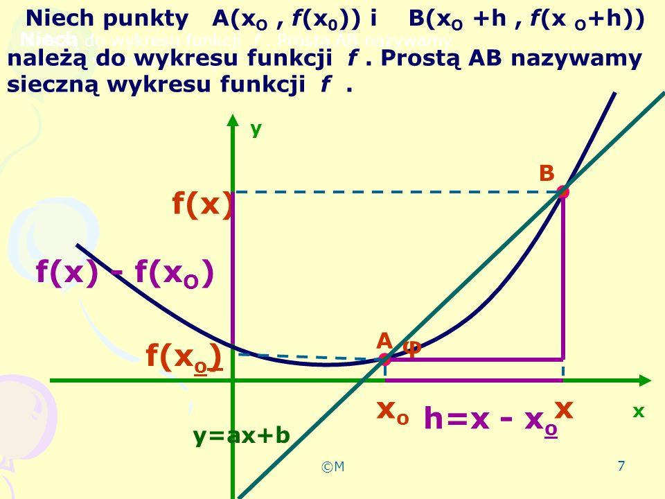 ©M 8 wniosek Iloraz różnicowy jest równy tangensowi kąta φ jaki sieczna AB tworzy z dodatnim kierunkiem osi OX i jest równy współczynnikowi kierunkowemu siecznej f(x) – f(x o ) x - x o f(x) – f(x 0 ) x - x o = tgφ= a