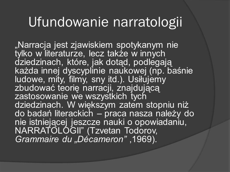 Ufundowanie narratologii Narracja jest zjawiskiem spotykanym nie tylko w literaturze, lecz także w innych dziedzinach, które, jak dotąd, podlegają każda innej dyscyplinie naukowej (np.