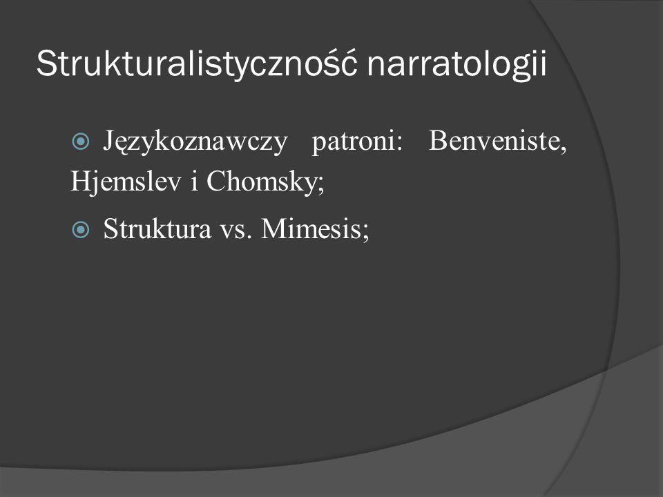 Strukturalistyczność narratologii Językoznawczy patroni: Benveniste, Hjemslev i Chomsky; Struktura vs.