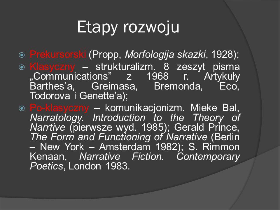 Etapy rozwoju Prekursorski (Propp, Morfologija skazki, 1928); Klasyczny – strukturalizm.