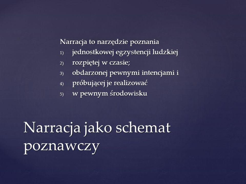 Narracja to narzędzie poznania 1) jednostkowej egzystencji ludzkiej 2) rozpiętej w czasie; 3) obdarzonej pewnymi intencjami i 4) próbującej je realizo