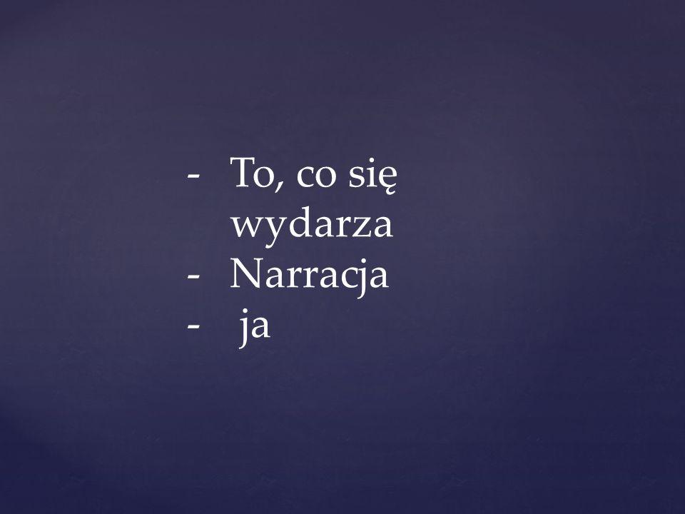 -To, co się wydarza -Narracja - ja