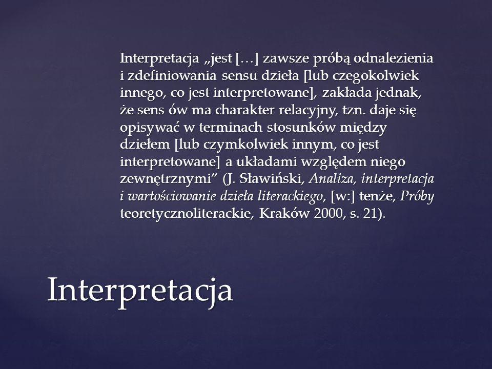 Interpretacja jest […] zawsze próbą odnalezienia i zdefiniowania sensu dzieła [lub czegokolwiek innego, co jest interpretowane], zakłada jednak, że se