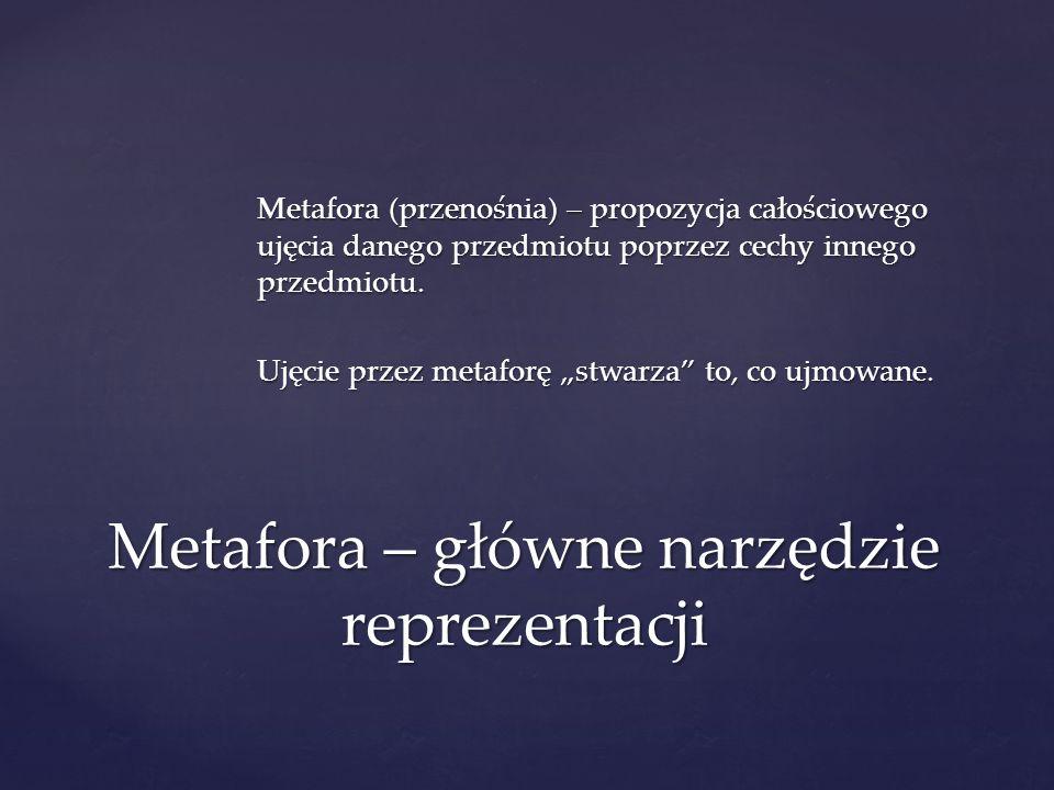 Metafora (przenośnia) – propozycja całościowego ujęcia danego przedmiotu poprzez cechy innego przedmiotu. Ujęcie przez metaforę stwarza to, co ujmowan