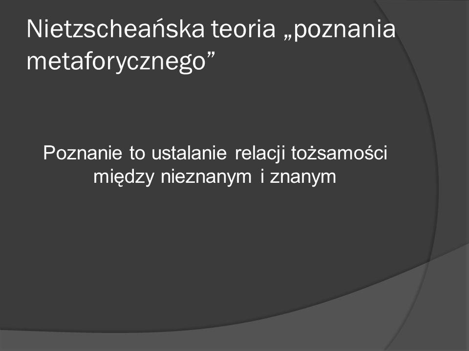Nietzscheańska teoria poznania metaforycznego Poznanie to ustalanie relacji tożsamości między nieznanym i znanym