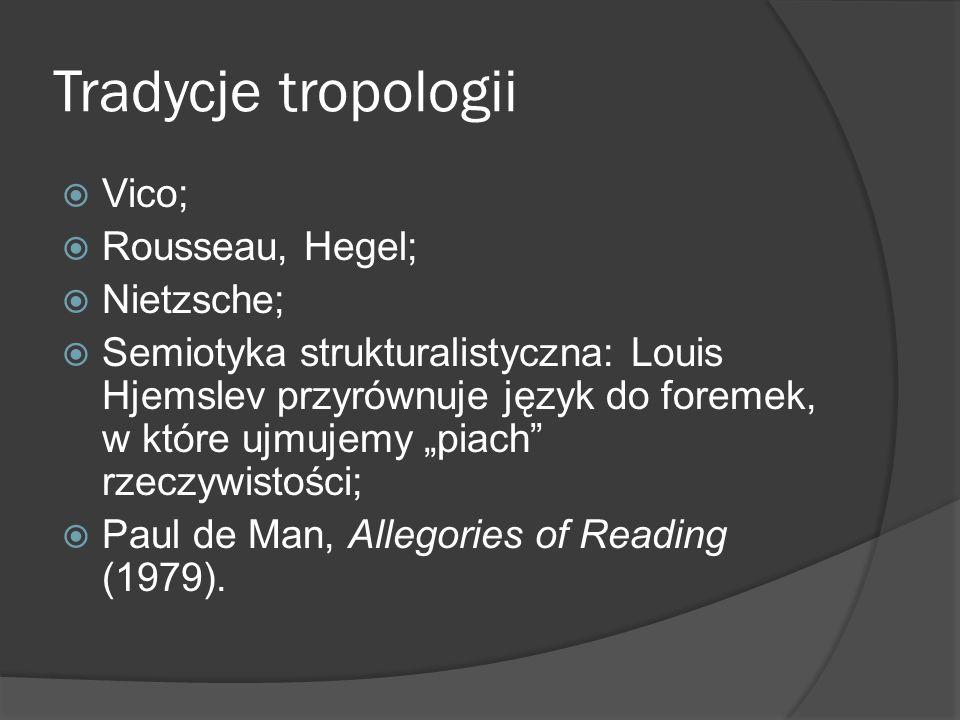 Tradycje tropologii Vico; Rousseau, Hegel; Nietzsche; Semiotyka strukturalistyczna: Louis Hjemslev przyrównuje język do foremek, w które ujmujemy piach rzeczywistości; Paul de Man, Allegories of Reading (1979).