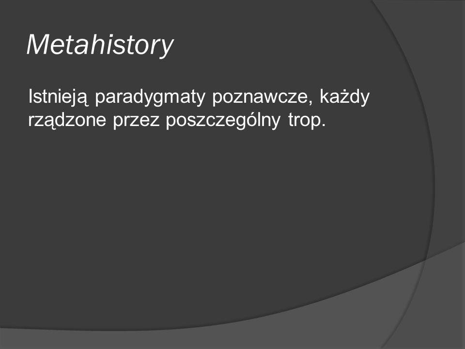 Metahistory Istnieją paradygmaty poznawcze, każdy rządzone przez poszczególny trop.