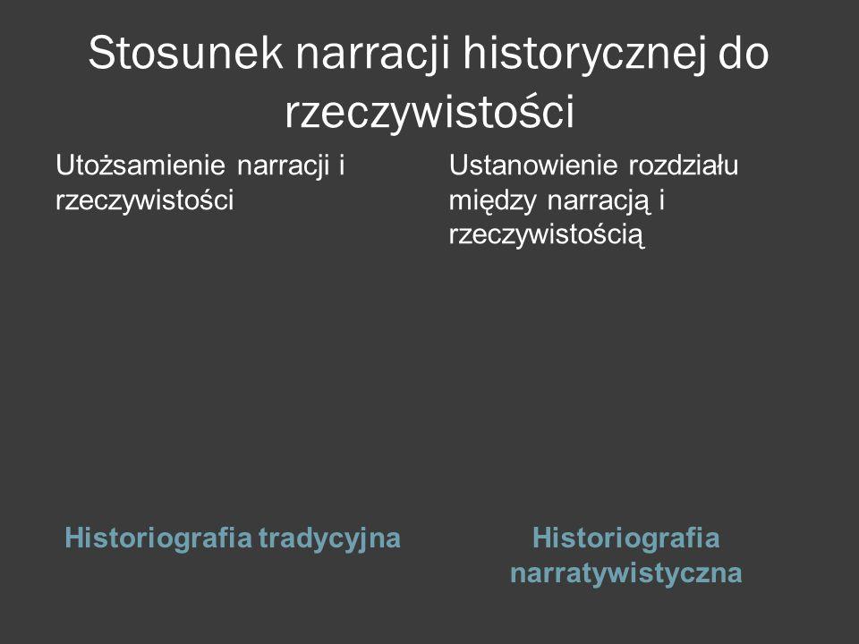 Stosunek narracji historycznej do rzeczywistości Historiografia tradycyjnaHistoriografia narratywistyczna Utożsamienie narracji i rzeczywistości Ustanowienie rozdziału między narracją i rzeczywistością