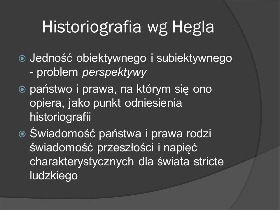 Historiografia wg Hegla Jedność obiektywnego i subiektywnego - problem perspektywy państwo i prawa, na którym się ono opiera, jako punkt odniesienia historiografii Świadomość państwa i prawa rodzi świadomość przeszłości i napięć charakterystycznych dla świata stricte ludzkiego