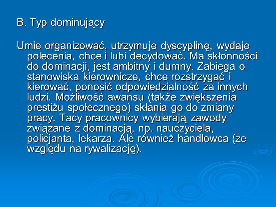 B. Typ dominujący Umie organizować, utrzymuje dyscyplinę, wydaje polecenia, chce i lubi decydować. Ma skłonności do dominacji, jest ambitny i dumny. Z