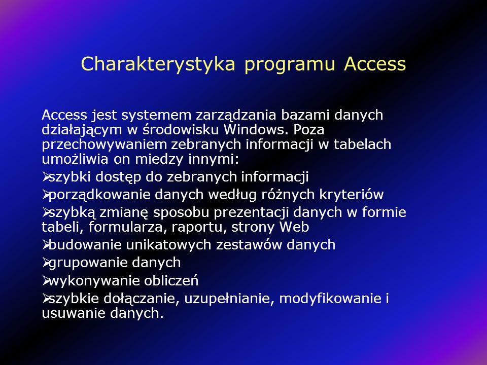 Charakterystyka programu Access Access jest systemem zarządzania bazami danych działającym w środowisku Windows.