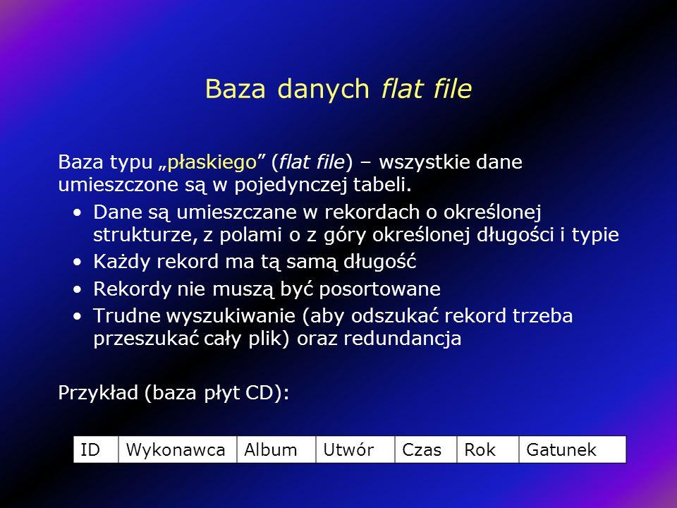 Baza danych flat file Baza typu płaskiego (flat file) – wszystkie dane umieszczone są w pojedynczej tabeli.