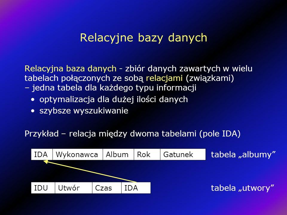 Relacyjne bazy danych Relacyjna baza danych - zbiór danych zawartych w wielu tabelach połączonych ze sobą relacjami (związkami) – jedna tabela dla każdego typu informacji optymalizacja dla dużej ilości danych szybsze wyszukiwanie Przykład – relacja między dwoma tabelami (pole IDA) IDAWykonawcaAlbumRokGatunek IDUUtwórCzasIDA tabela albumy tabela utwory