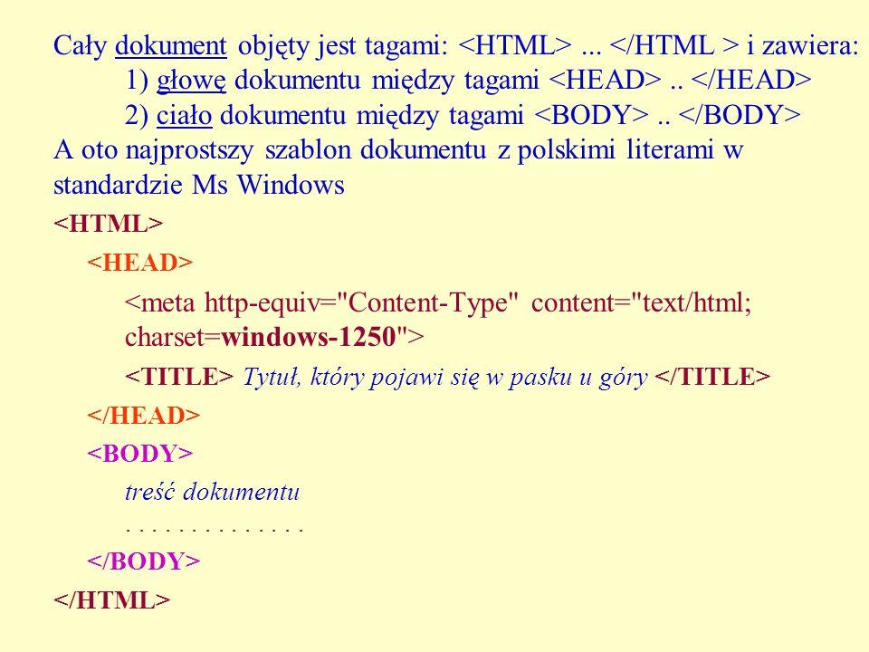 Cały dokument objęty jest tagami:... i zawiera: 1) głowę dokumentu między tagami.. 2) ciało dokumentu między tagami.. A oto najprostszy szablon dokume