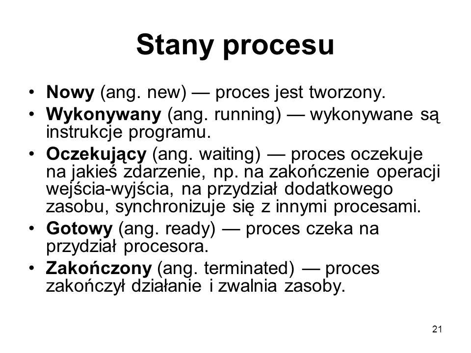21 Stany procesu Nowy (ang. new) proces jest tworzony. Wykonywany (ang. running) wykonywane są instrukcje programu. Oczekujący (ang. waiting) proces o
