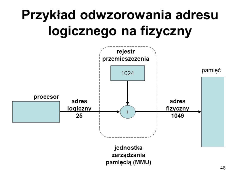 48 Przykład odwzorowania adresu logicznego na fizyczny 1024 + procesor adres logiczny 25 rejestr przemieszczenia jednostka zarządzania pamięcią (MMU)