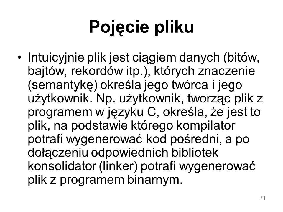 71 Pojęcie pliku Intuicyjnie plik jest ciągiem danych (bitów, bajtów, rekordów itp.), których znaczenie (semantykę) określa jego twórca i jego użytkow