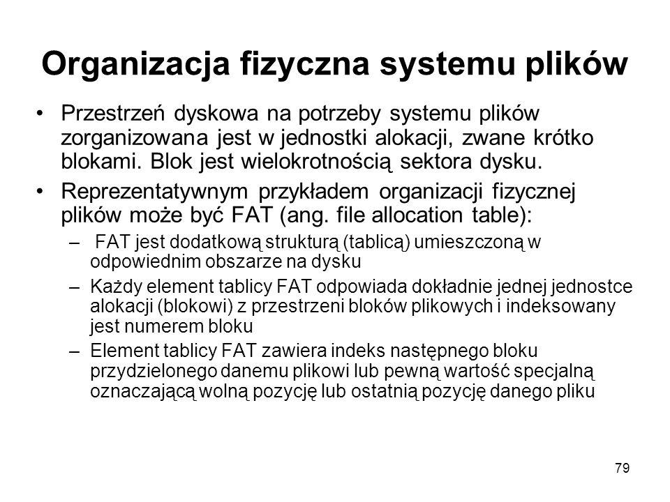 79 Organizacja fizyczna systemu plików Przestrzeń dyskowa na potrzeby systemu plików zorganizowana jest w jednostki alokacji, zwane krótko blokami. Bl