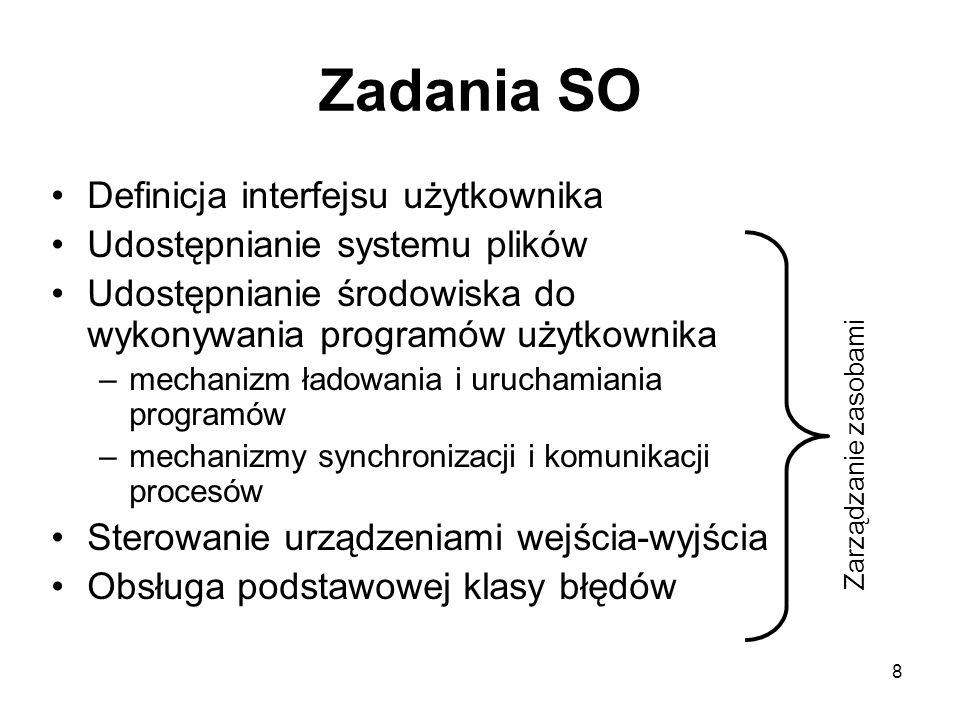 8 Zadania SO Definicja interfejsu użytkownika Udostępnianie systemu plików Udostępnianie środowiska do wykonywania programów użytkownika –mechanizm ła