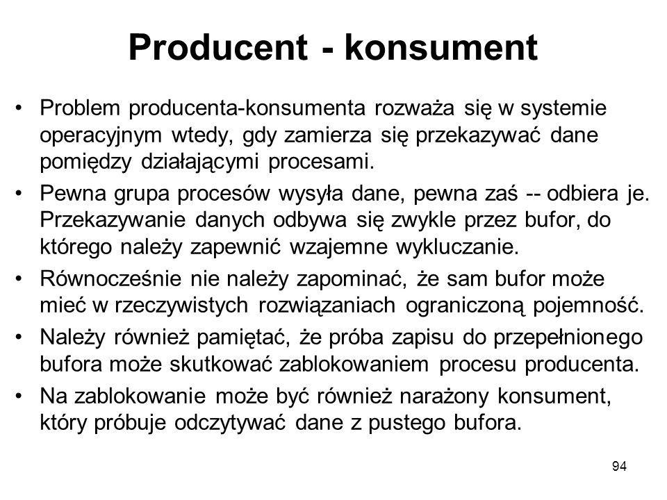 Producent - konsument Problem producenta-konsumenta rozważa się w systemie operacyjnym wtedy, gdy zamierza się przekazywać dane pomiędzy działającymi