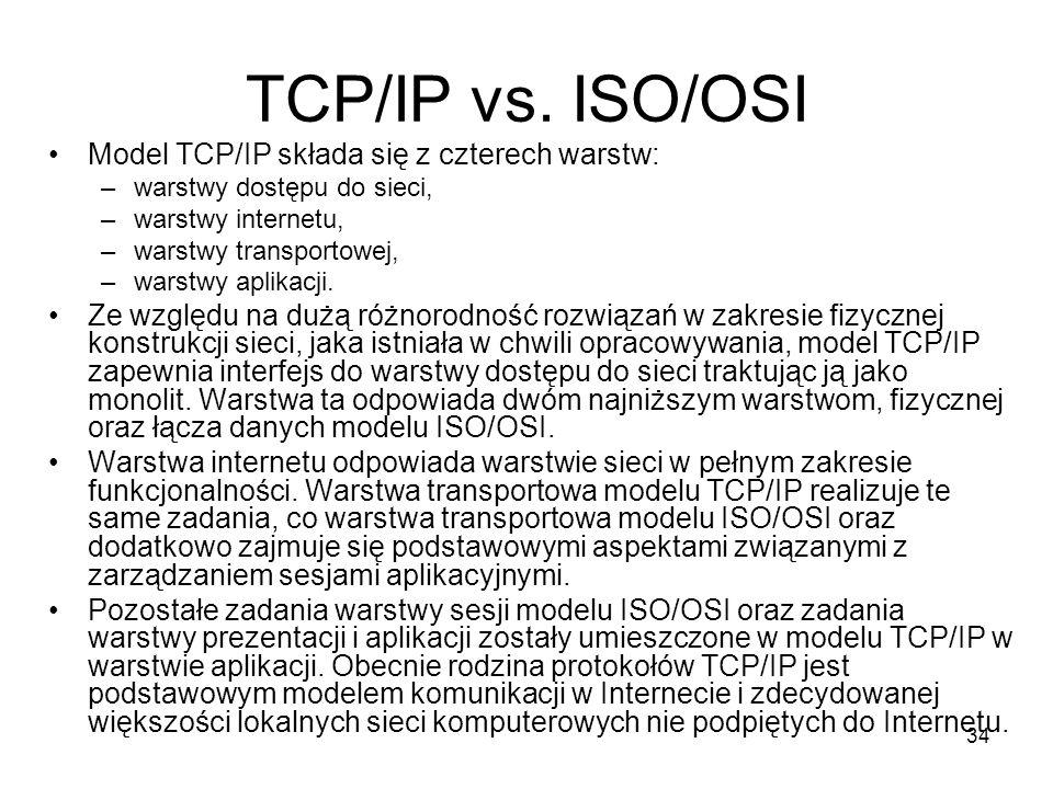 34 TCP/IP vs. ISO/OSI Model TCP/IP składa się z czterech warstw: –warstwy dostępu do sieci, –warstwy internetu, –warstwy transportowej, –warstwy aplik