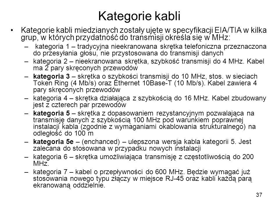 37 Kategorie kabli Kategorie kabli miedzianych zostały ujęte w specyfikacji EIA/TIA w kilka grup, w których przydatność do transmisji określa się w MH