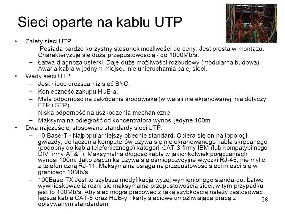 38 Sieci oparte na kablu UTP Zalety sieci UTP – Posiada bardzo korzystny stosunek możliwości do ceny. Jest prosta w montażu. Charakteryzuje się dużą p