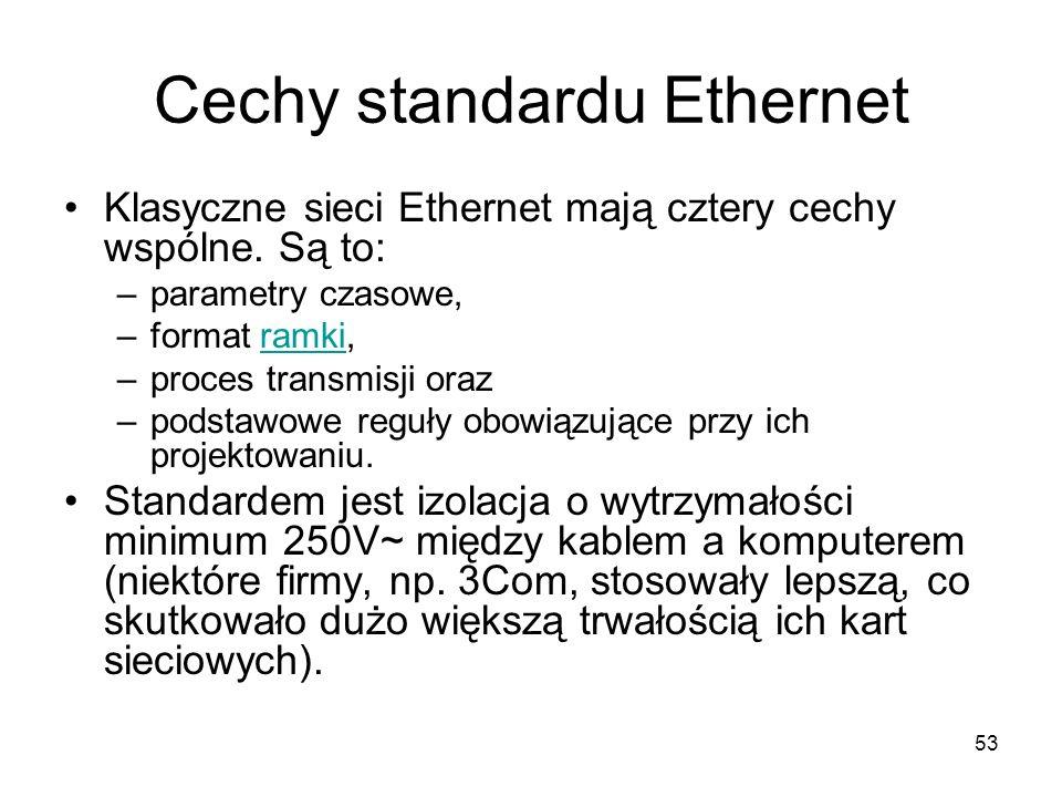 53 Cechy standardu Ethernet Klasyczne sieci Ethernet mają cztery cechy wspólne. Są to: –parametry czasowe, –format ramki,ramki –proces transmisji oraz