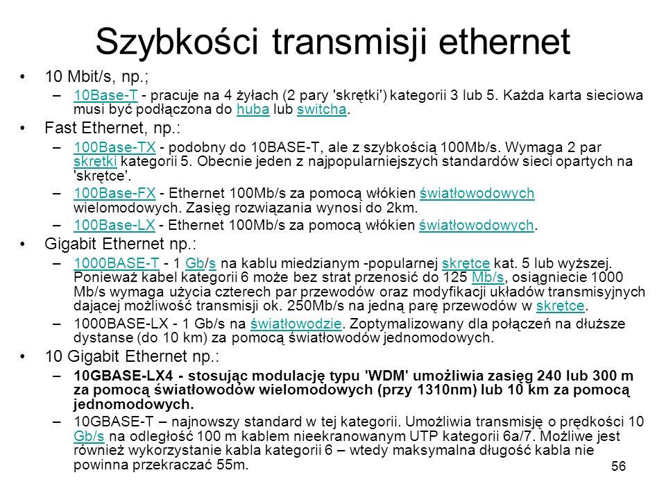 56 Szybkości transmisji ethernet 10 Mbit/s, np.; –10Base-T - pracuje na 4 żyłach (2 pary 'skrętki') kategorii 3 lub 5. Każda karta sieciowa musi być p