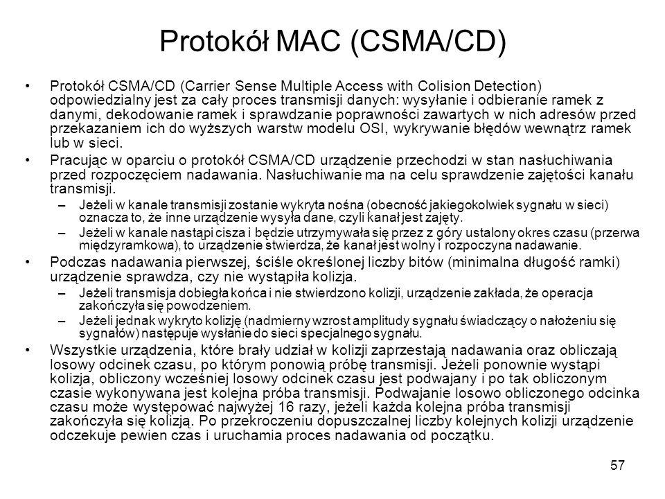 57 Protokół MAC (CSMA/CD) Protokół CSMA/CD (Carrier Sense Multiple Access with Colision Detection) odpowiedzialny jest za cały proces transmisji danyc