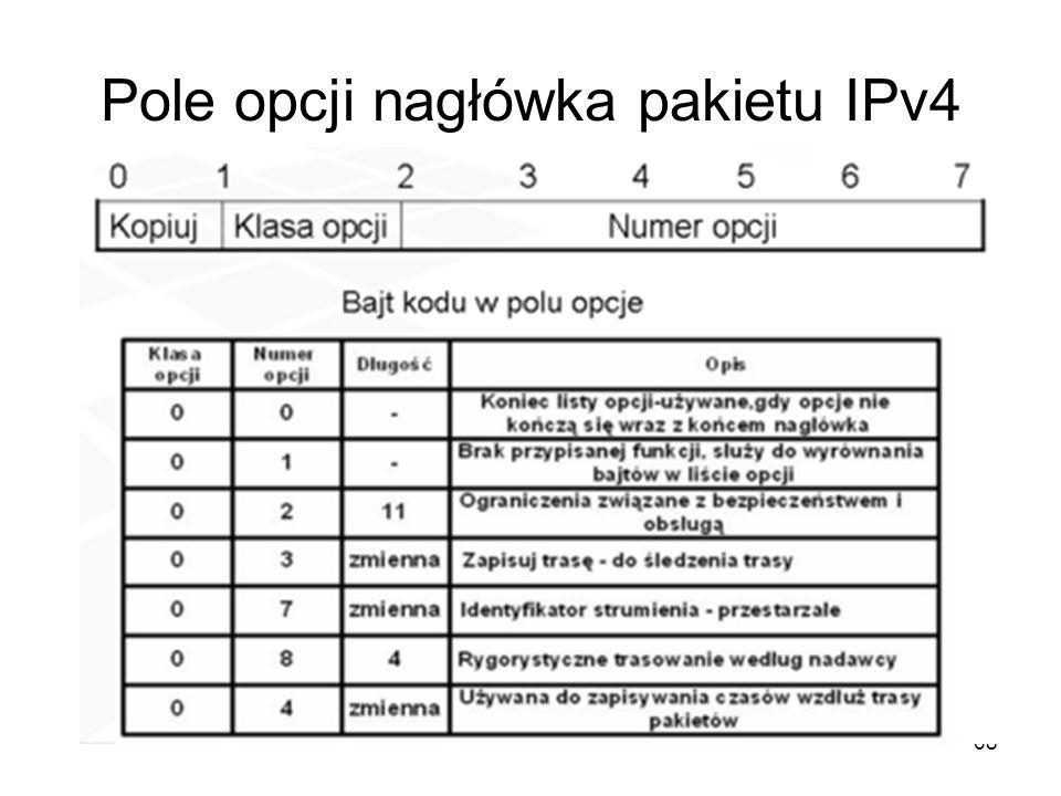68 Pole opcji nagłówka pakietu IPv4