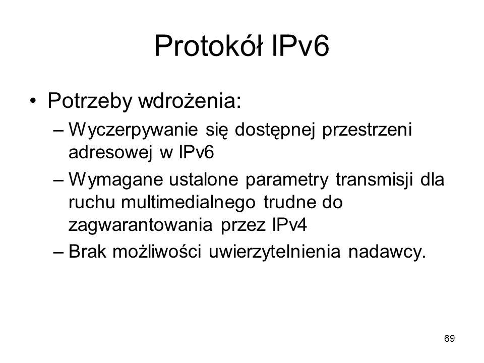 69 Protokół IPv6 Potrzeby wdrożenia: –Wyczerpywanie się dostępnej przestrzeni adresowej w IPv6 –Wymagane ustalone parametry transmisji dla ruchu multi