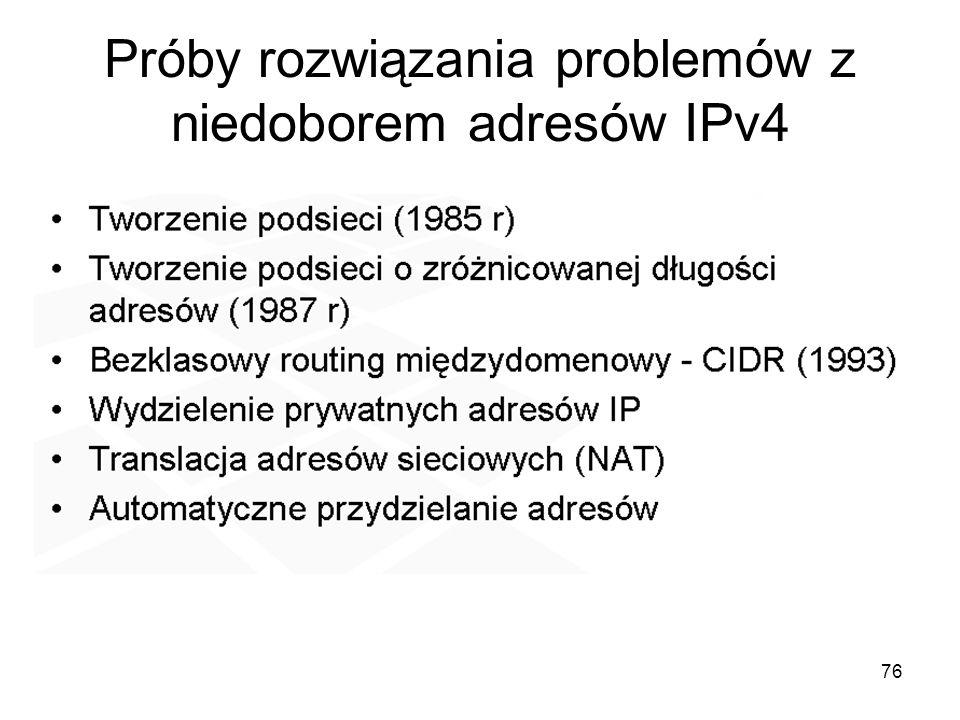 76 Próby rozwiązania problemów z niedoborem adresów IPv4