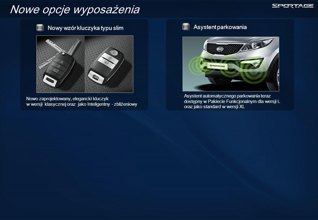 Nowe opcje wyposażenia Nowy wzór kluczyka typu slim Nowo zaprojektowany, elegancki kluczyk w wersji klasycznej oraz jako Inteligentny - zbliżeniowy Asystent automatycznego parkowania teraz dostępny w Pakiecie Funkcjonalnym dla wersji L oraz jako standard w wersji XL Asystent parkowania
