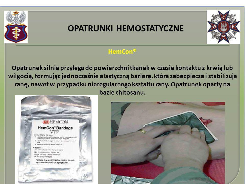 OPATRUNKI HEMOSTATYCZNE HemCon® Opatrunek silnie przylega do powierzchni tkanek w czasie kontaktu z krwią lub wilgocią, formując jednocześnie elastycz