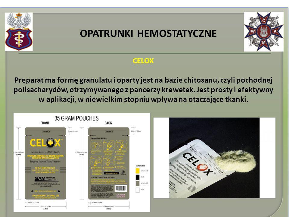 OPATRUNKI HEMOSTATYCZNE CELOX Preparat ma formę granulatu i oparty jest na bazie chitosanu, czyli pochodnej polisacharydów, otrzymywanego z pancerzy k
