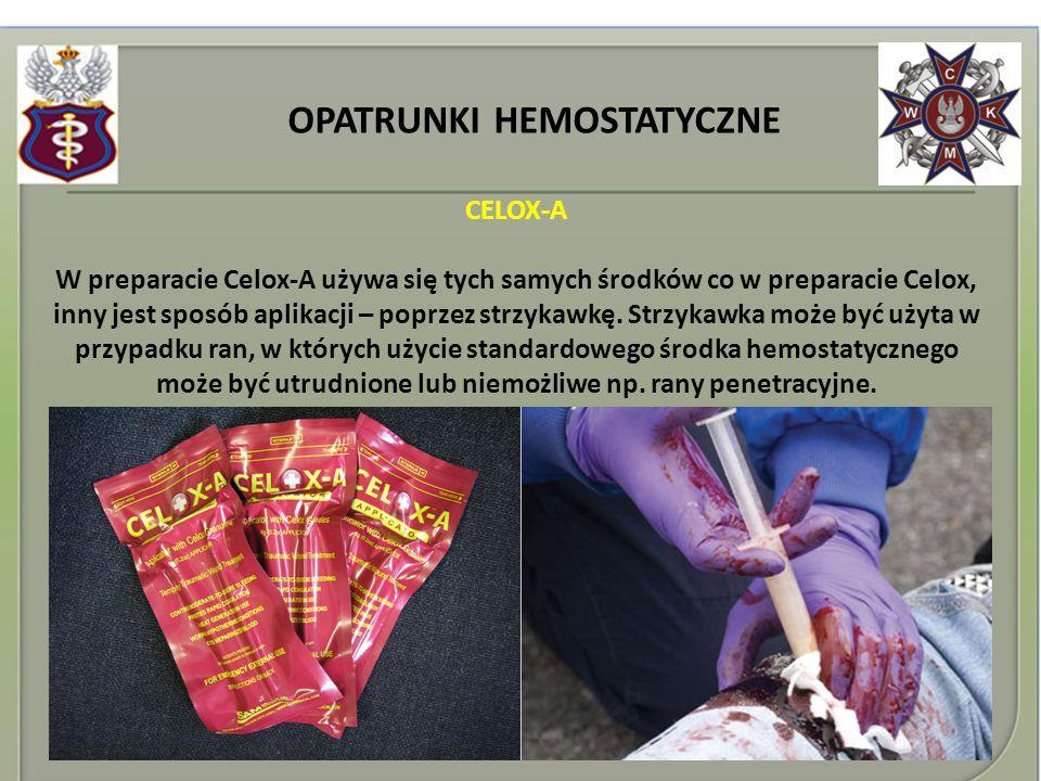 OPATRUNKI HEMOSTATYCZNE CELOX-A W preparacie Celox-A używa się tych samych środków co w preparacie Celox, inny jest sposób aplikacji – poprzez strzyka