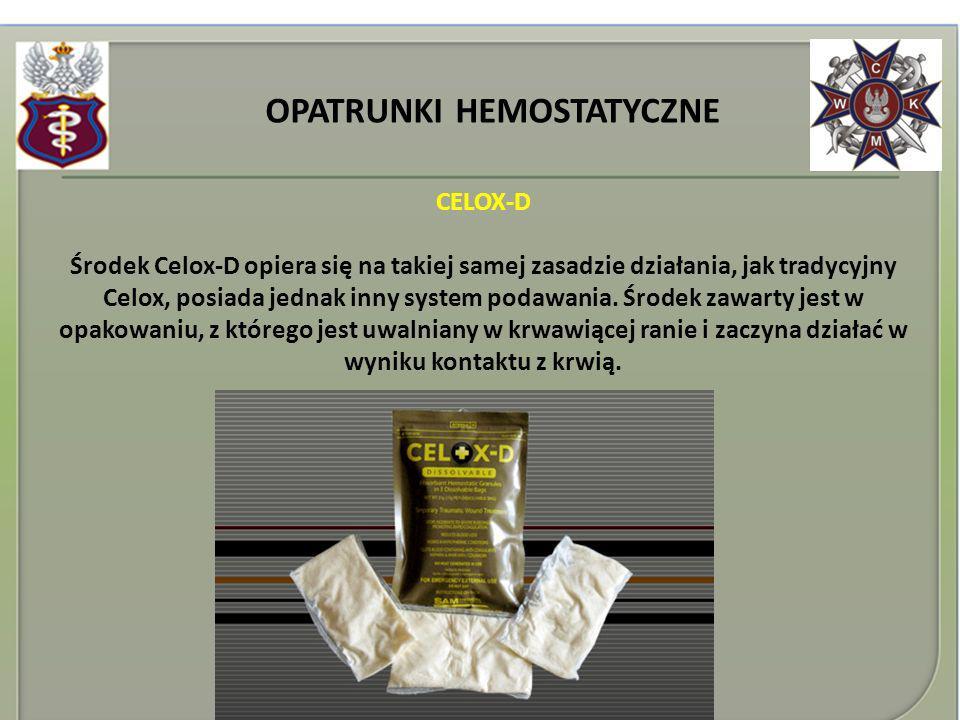 OPATRUNKI HEMOSTATYCZNE CELOX-D Środek Celox-D opiera się na takiej samej zasadzie działania, jak tradycyjny Celox, posiada jednak inny system podawan