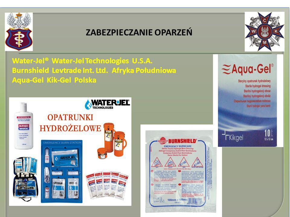 ZABEZPIECZANIE OPARZEŃ Water-Jel® Water-Jel Technologies U.S.A. Burnshield Levtrade Int. Ltd. Afryka Południowa Aqua-Gel Kik-Gel Polska