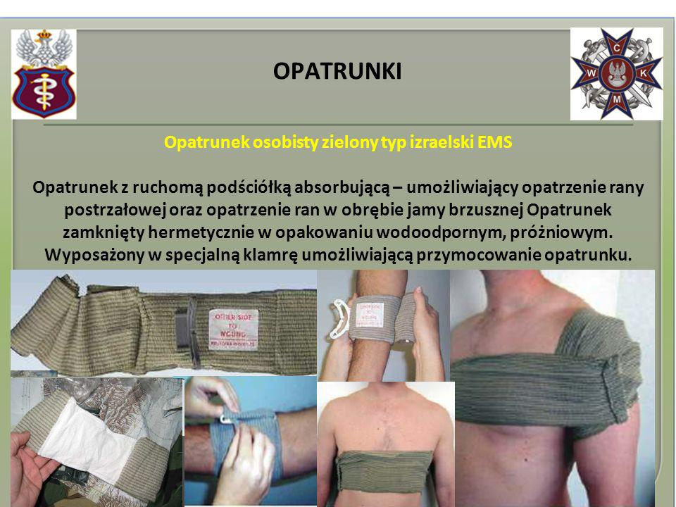 Opatrunek osobisty zielony typ izraelski EMS Opatrunek z ruchomą podściółką absorbującą – umożliwiający opatrzenie rany postrzałowej oraz opatrzenie r