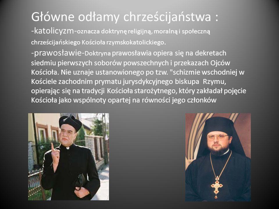 Główne odłamy chrześcijaństwa : -katolicyzm- oznacza doktrynę religijną, moralną i społeczną chrześcijańskiego Kościoła rzymskokatolickiego. -prawosła