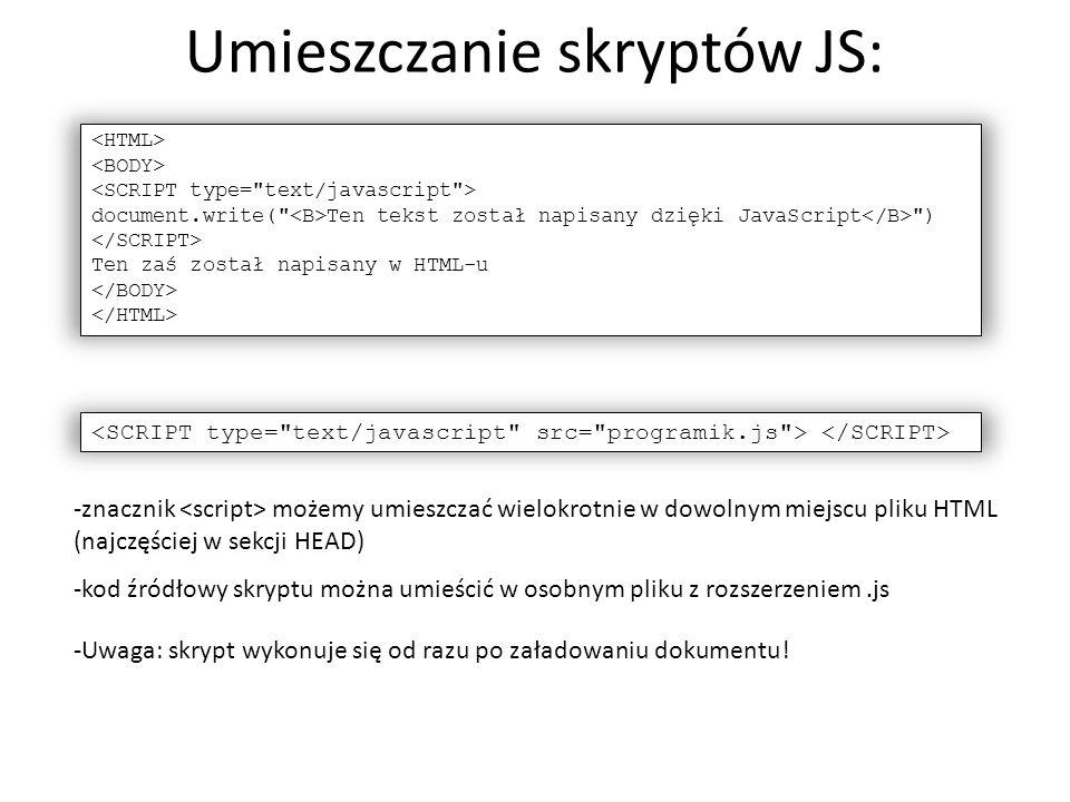 Umieszczanie skryptów JS: document.write(