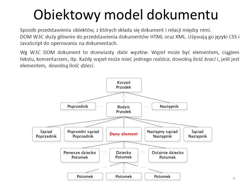Obiektowy model dokumentu 4 Sposób przedstawienia obiektów, z których składa się dokument i relacji między nimi. DOM W3C służy głównie do przedstawien