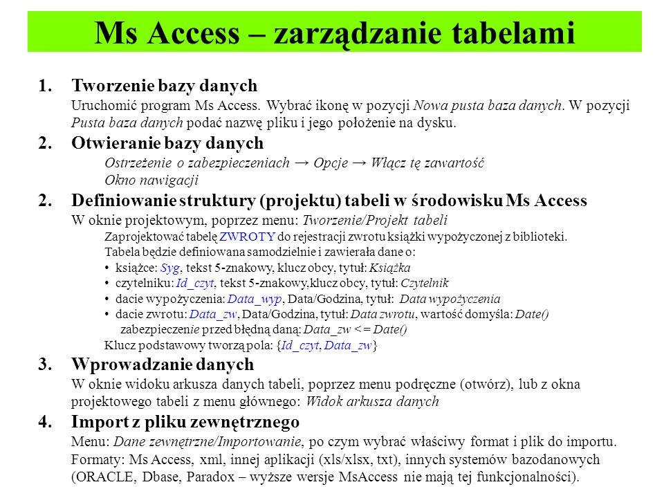 Ms Access – zarządzanie tabelami 1.Tworzenie bazy danych Uruchomić program Ms Access.
