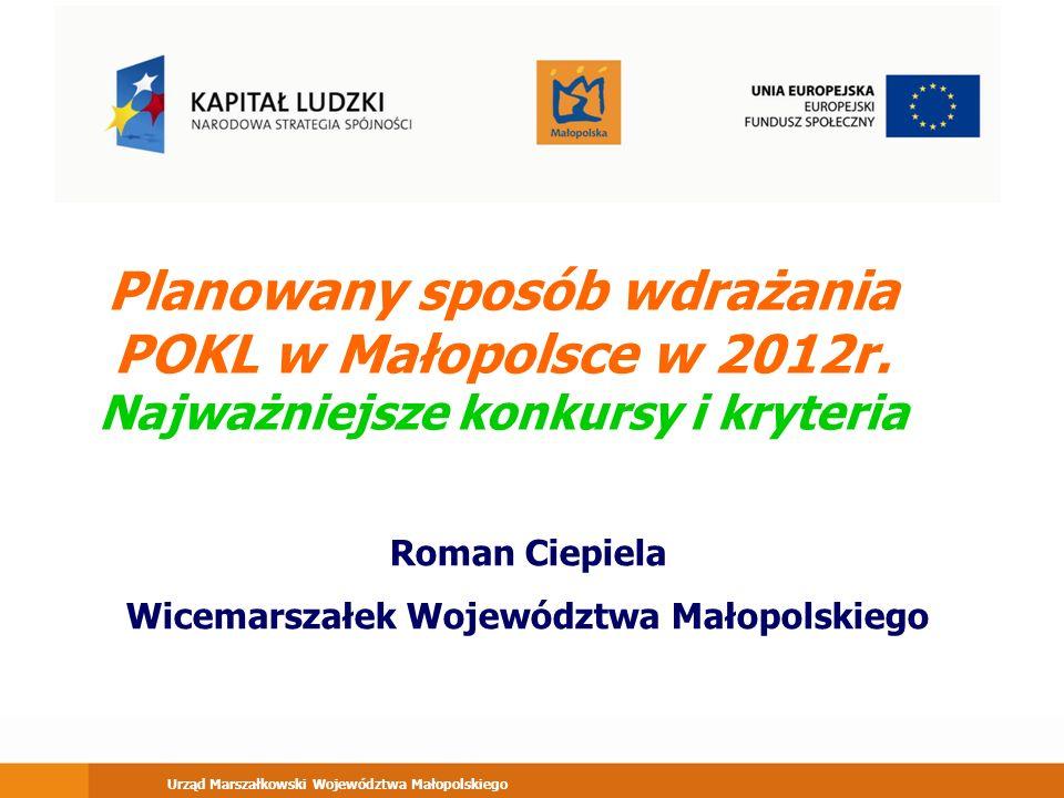 Urząd Marszałkowski Województwa Małopolskiego Planowany sposób wdrażania POKL w Małopolsce w 2012r.