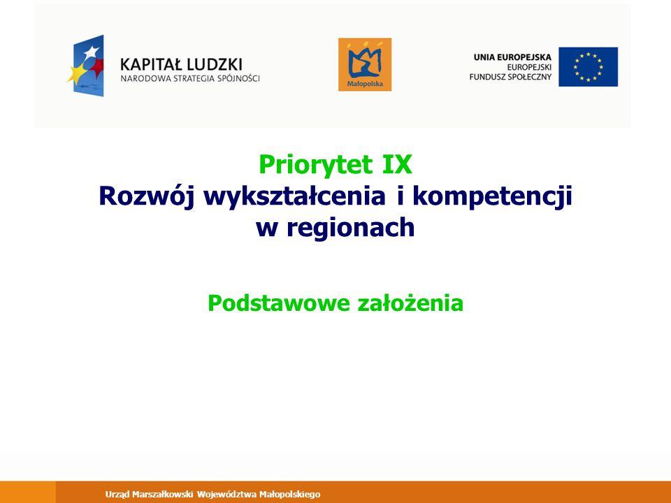 Urząd Marszałkowski Województwa Małopolskiego Priorytet IX Rozwój wykształcenia i kompetencji w regionach Podstawowe założenia