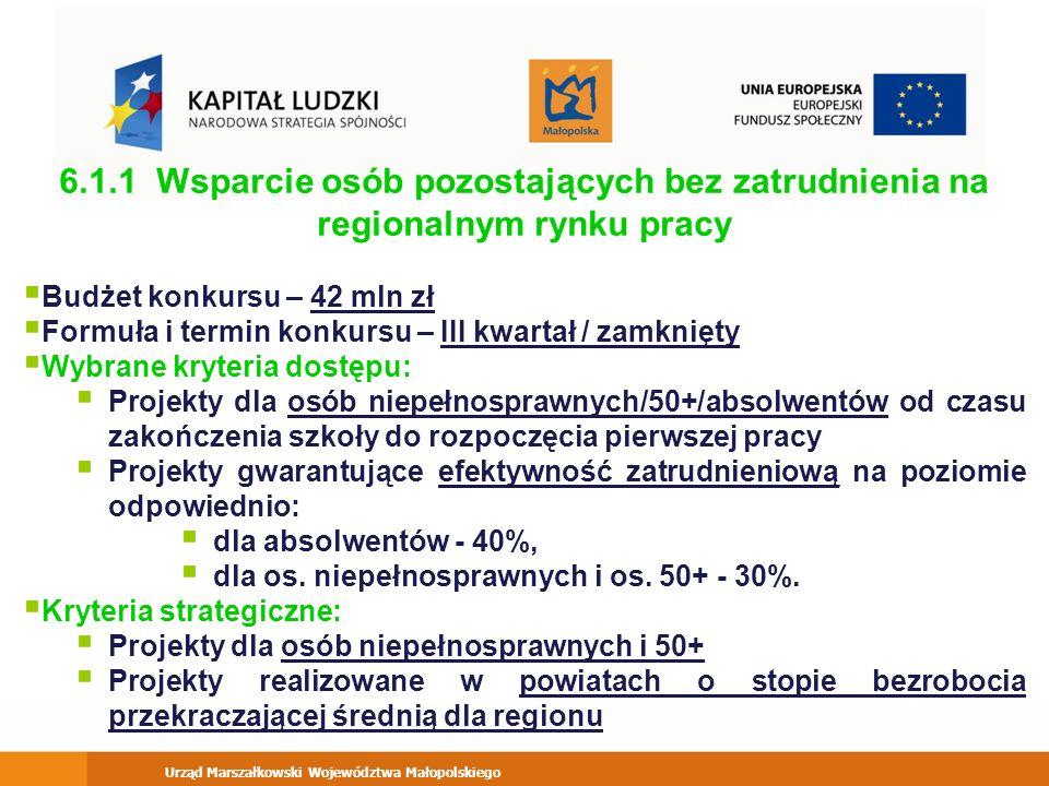 Urząd Marszałkowski Województwa Małopolskiego 9.5 Oddolne inicjatywy edukacyjne na obszarach wiejskich Budżet konkursu – 11 mln zł Formuła i termin konkursu – I kwartał / zamknięty Kryteria strategiczne: Projekt premiujący osoby niepełnosprawne - 10% uczestników projektów Realizacja inicjatyw w gminach, które dotychczas nie realizowały projektów w ramach Działań 6.3, 7.3, 9.5